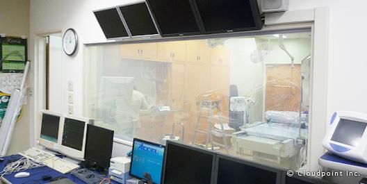 放射線室ガラス面