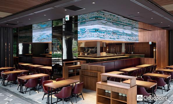 飲食店カウンター上部にワイド15mのLEDビジョンを設置 江戸の日本画を動画コンテンツとして制作・放映